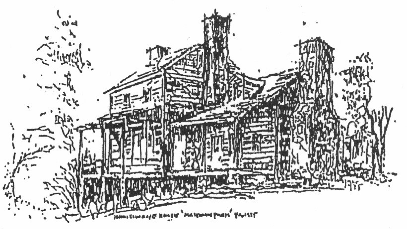 Etching of the Milltown Farms House, part of which was originally build by Henry Addington